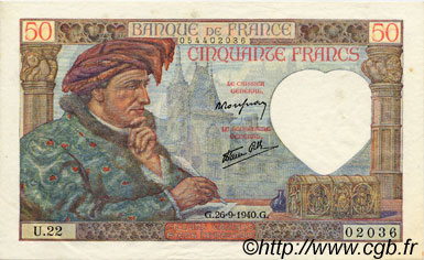 50 Francs JACQUES CŒUR FRANCE  1940 F.19.03 pr.SPL