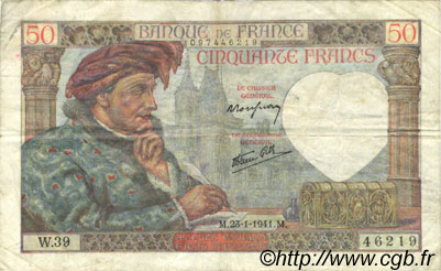 50 Francs JACQUES CŒUR FRANCE  1941 F.19.05 TTB