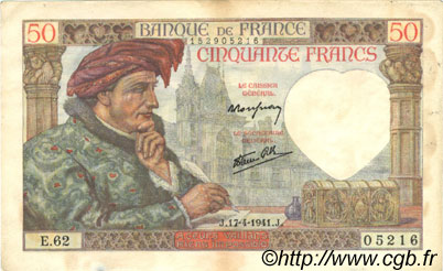 50 Francs JACQUES CŒUR FRANCE  1941 F.19.08 TTB