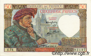 50 Francs JACQUES CŒUR FRANCE  1941 F.19.09 pr.NEUF