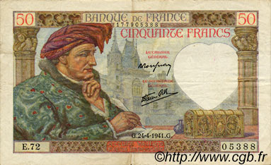 50 Francs JACQUES CŒUR FRANCE  1941 F.19.09 TTB+