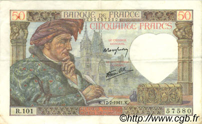50 Francs JACQUES CŒUR FRANCE  1941 F.19.12 TTB+
