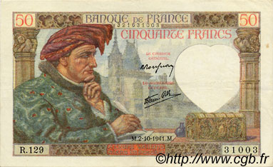 50 Francs JACQUES CŒUR FRANCE  1941 F.19.15 TTB à SUP