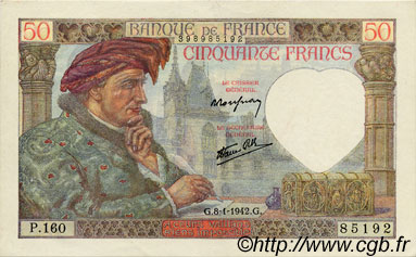50 Francs JACQUES CŒUR FRANCE  1942 F.19.18 SUP+