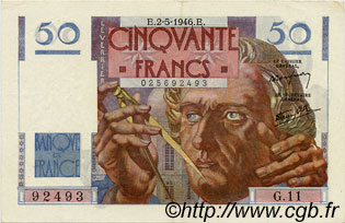 50 Francs LE VERRIER FRANCE  1946 F.20.03 SUP