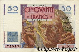 50 Francs LE VERRIER FRANCE  1948 F.20.10 SUP