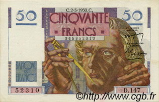 50 Francs LE VERRIER FRANCE  1950 F.20.14 SUP