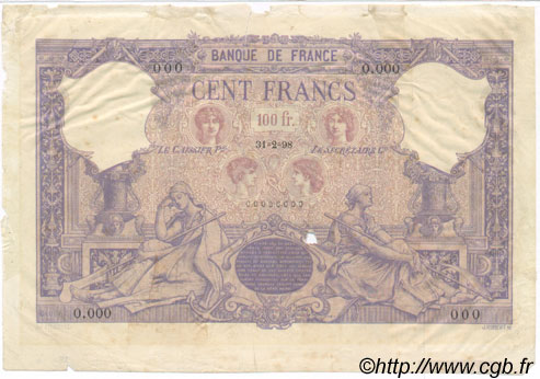 100 Francs BLEU ET ROSE FRANCE  1898 F.21.00 TTB