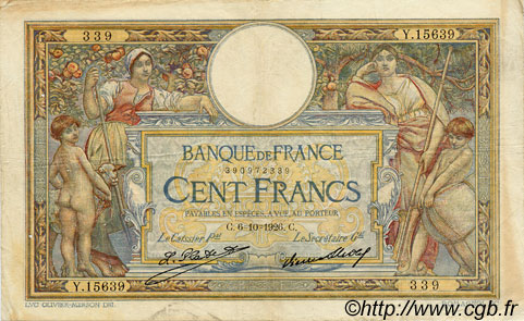 100 Francs LUC OLIVIER MERSON grands cartouches FRANCE  1926 F.24.05 pr.TTB