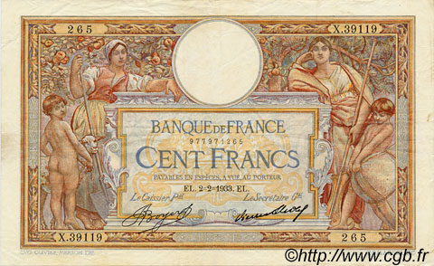 100 Francs LUC OLIVIER MERSON grands cartouches FRANCE  1933 F.24.12 TTB+