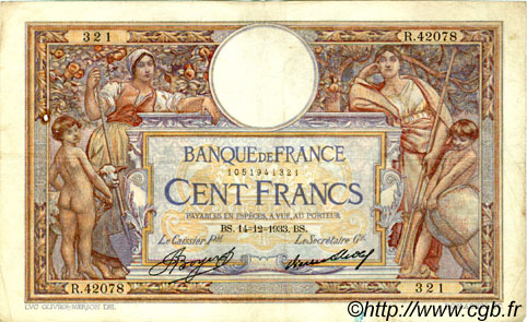 100 Francs LUC OLIVIER MERSON grands cartouches FRANCE  1933 F.24.12 TB+