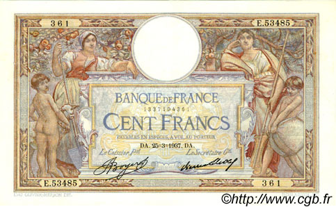 100 Francs LUC OLIVIER MERSON grands cartouches FRANCE  1937 F.24.16 TTB+ à SUP