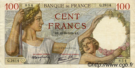 100 Francs SULLY FRANCE  1939 F.26.10 TTB+