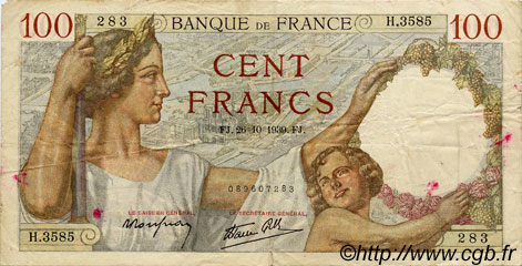 100 Francs SULLY FRANCE  1939 F.26.12 TB