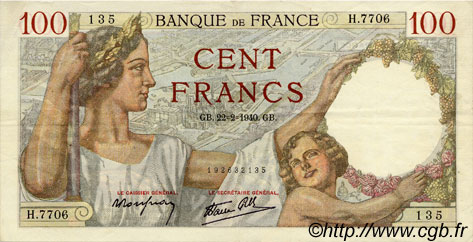 100 Francs SULLY FRANCE  1940 F.26.23 TTB+