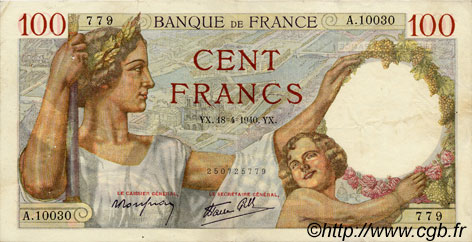 100 Francs SULLY FRANCE  1940 F.26.27 TTB+