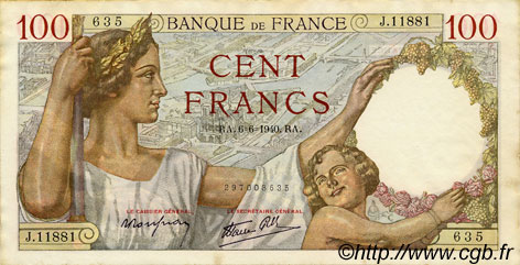 100 Francs SULLY FRANCE  1940 F.26.31 SUP