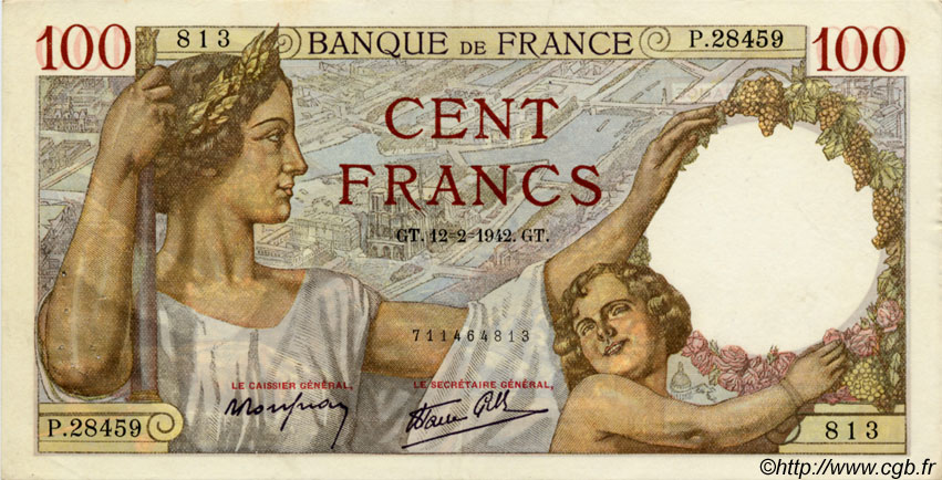 100 Francs SULLY FRANCE  1942 F.26.66 TTB+