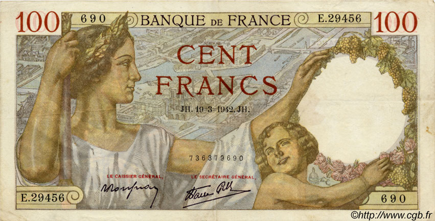 100 Francs SULLY FRANCE  1942 F.26.68 TTB+