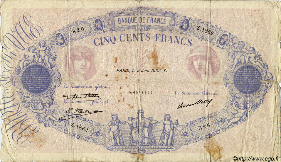 500 Francs BLEU ET ROSE FRANCE  1932 F.30.35 AB
