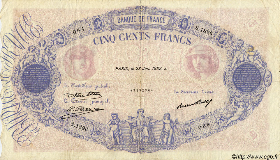 500 Francs BLEU ET ROSE FRANCE  1932 F.30.35 TB