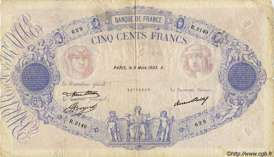 500 Francs BLEU ET ROSE FRANCE  1933 F.30.36 pr.TB