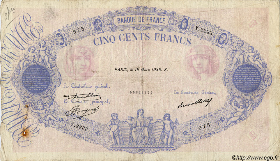 500 Francs BLEU ET ROSE FRANCE  1936 F.30.37 B à TB