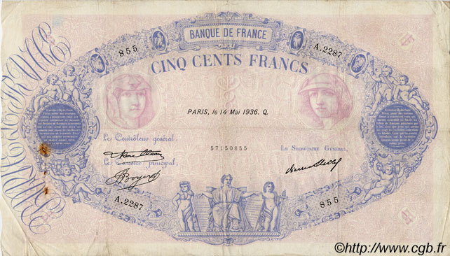 500 Francs BLEU ET ROSE FRANCE  1936 F.30.37 TB+