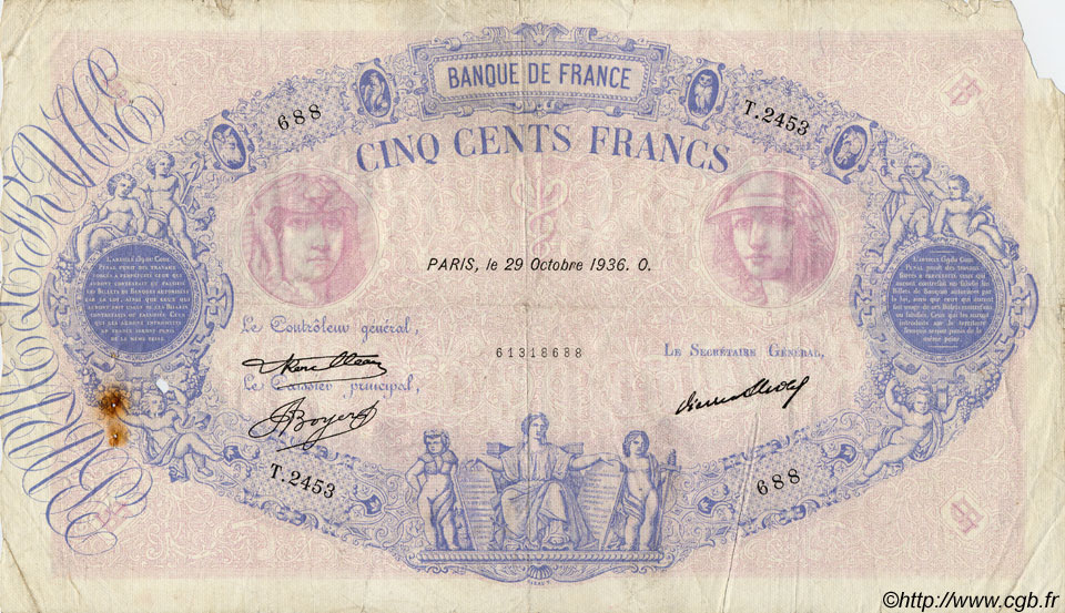 500 Francs BLEU ET ROSE FRANCE  1936 F.30.37 B