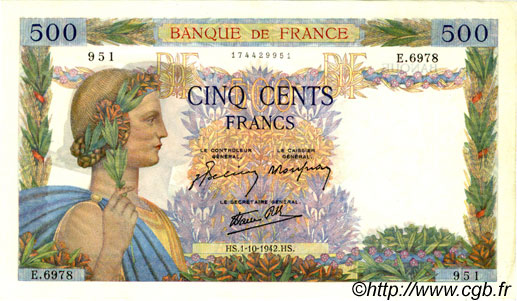 500 Francs LA PAIX FRANCE  1942 F.32.41 SPL+