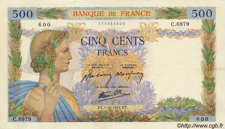 500 Francs LA PAIX FRANCE  1942 F.32.41 SUP+