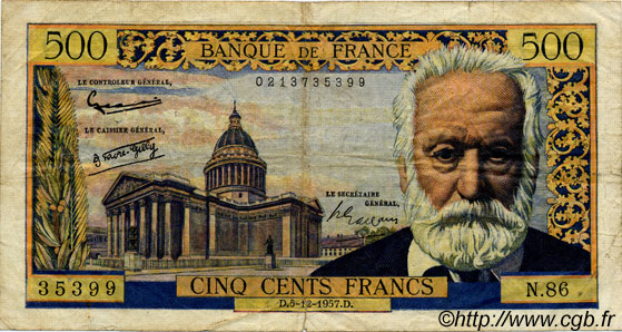 500 Francs VICTOR HUGO FRANCE  1957 F.35.07 pr.TB