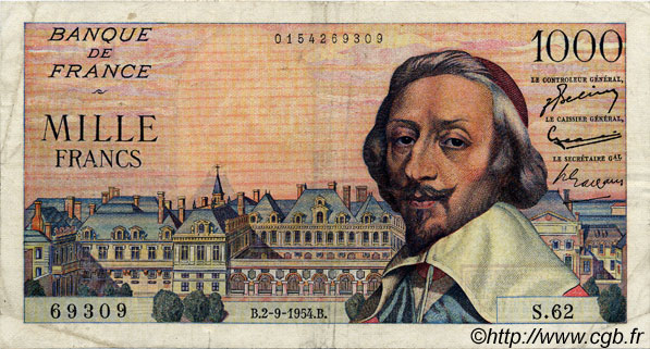 1000 Francs RICHELIEU FRANCE  1954 F.42.07 TB