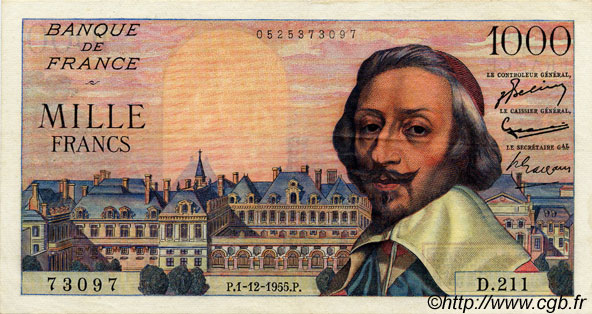 1000 Francs RICHELIEU FRANCE  1955 F.42.17 TTB+