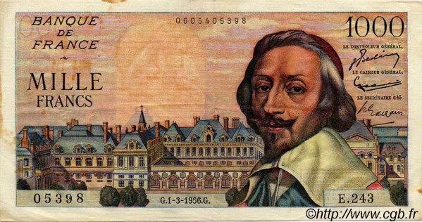 1000 Francs RICHELIEU FRANCE  1956 F.42.19 TTB+