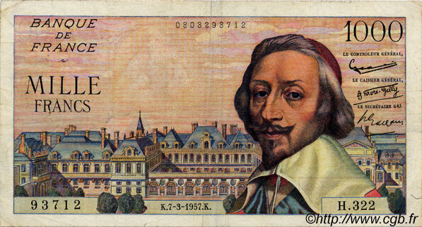1000 Francs RICHELIEU FRANCE  1957 F.42.25 TB