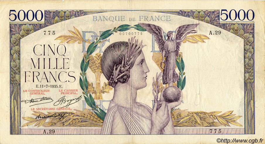 5000 Francs VICTOIRE Taille Douce FRANCE  1935 F.44.03 TB