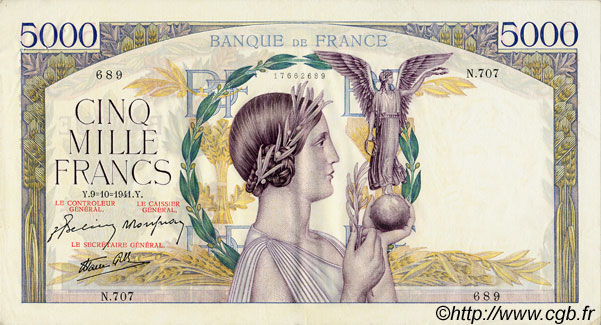 5000 Francs VICTOIRE Impression à plat FRANCE  1941 F.46.27 SUP