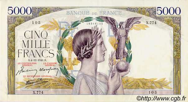 5000 Francs VICTOIRE Impression à plat FRANCE  1941 F.46.30 SUP