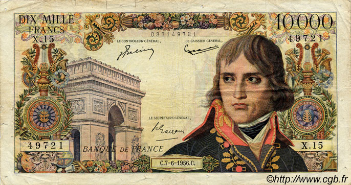 10000 Francs BONAPARTE FRANCE  1956 F.51.03 B+
