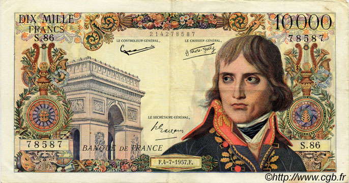 10000 Francs BONAPARTE FRANCE  1957 F.51.09 TTB