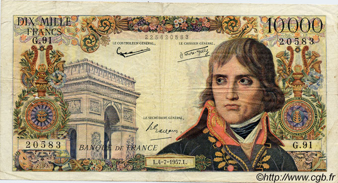 10000 Francs BONAPARTE FRANCE  1957 F.51.09 B+