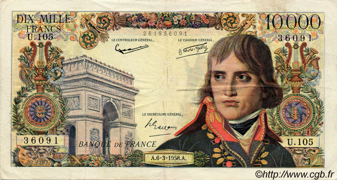 10000 Francs BONAPARTE FRANCE  1958 F.51.11 TB+ à TTB