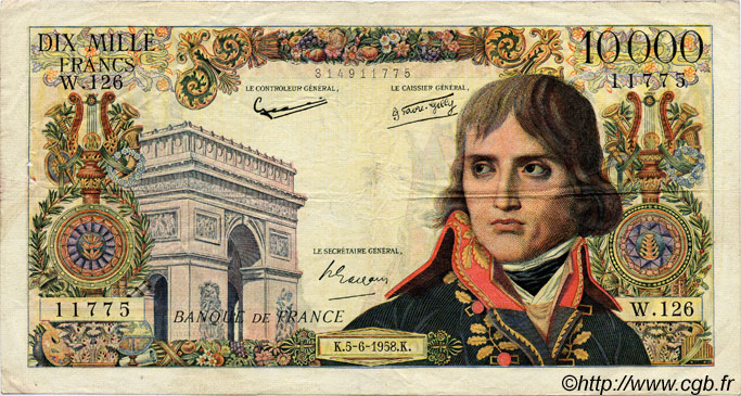 10000 Francs BONAPARTE FRANCE  1958 F.51.12 TB