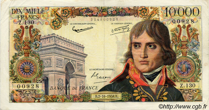 10000 Francs BONAPARTE FRANCE  1958 F.51.13 pr.TTB
