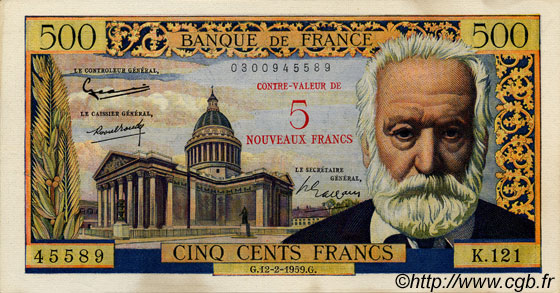 5 NF sur 500 Francs Victor HUGO FRANCE  1959 F.52.02 SUP+