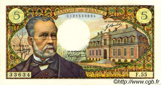 5 Francs PASTEUR FRANCE  1967 F.61.05 pr.SUP