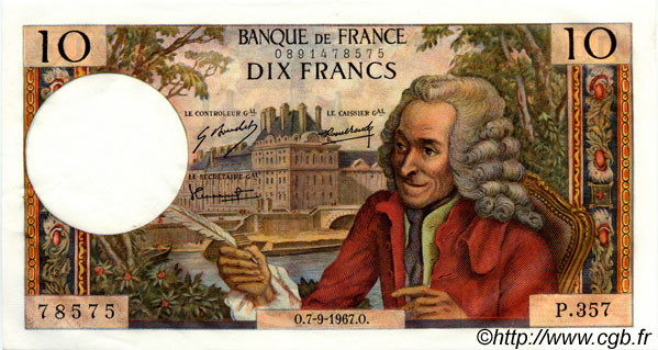 10 Francs VOLTAIRE FRANCE  1967 F.62.28 SUP+