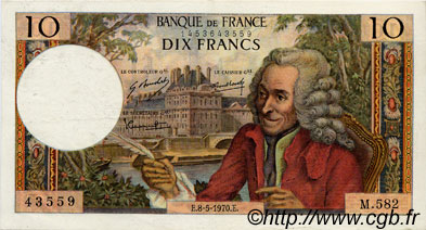 10 Francs VOLTAIRE FRANCE  1970 F.62.44 SUP