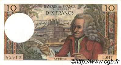 10 Francs VOLTAIRE FRANCE  1971 F.62.48 SUP